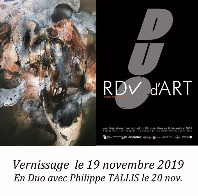 RDV d'ART en duo….. PARIS..                               Espace Christiane Peugeot                         Vernissage 19 nov., 18h30
